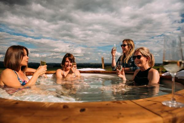 choose a pod with woodfired hot tub