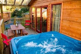 Outdoor hot tub on terrace