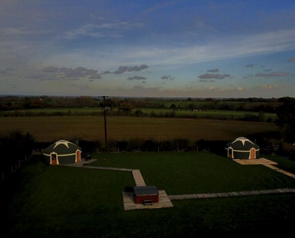 2 yurts at Peakes Retreats at dusk