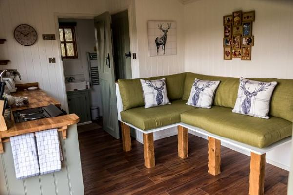 seating area in the shepherds hut