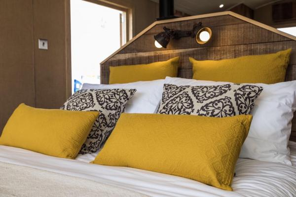 plush bedding and cushions