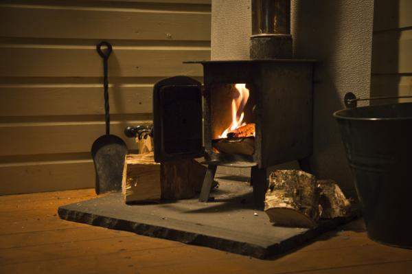 wood burner in the Woodcutters Hut