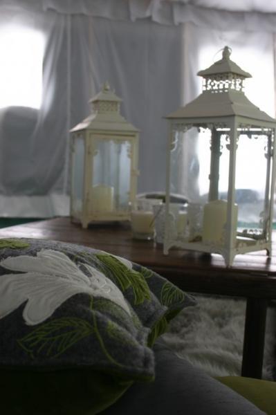 lanterns and cushions