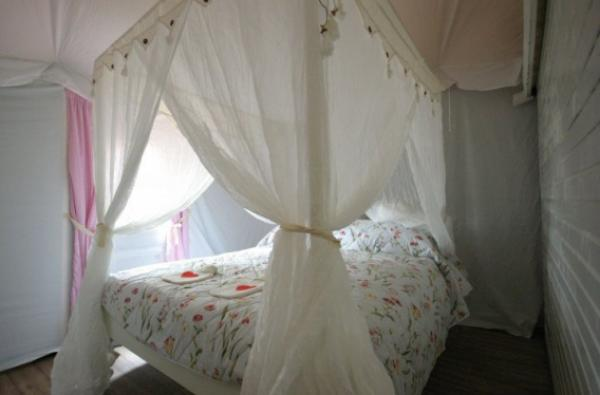 double bed in lodge tent