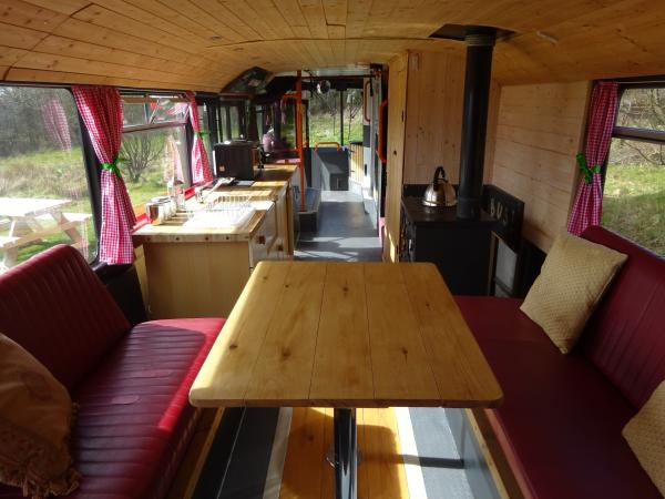 Dining area in the bus