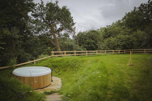 the hot tub in the garden
