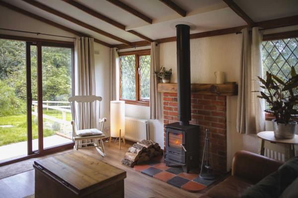 the living room with woodburner