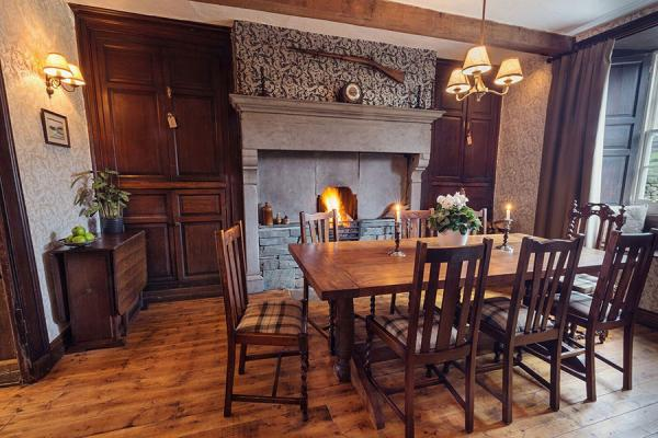 Farmhouse Dining room with historic features