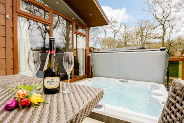 Relax in the hot tub near Poole