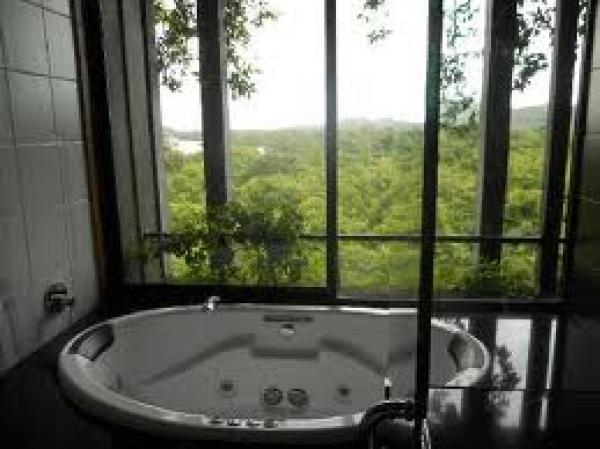 views of the forest from jacuzzi
