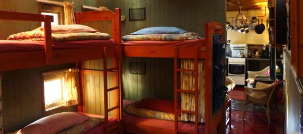 cabin bunks downstairs in the hostel