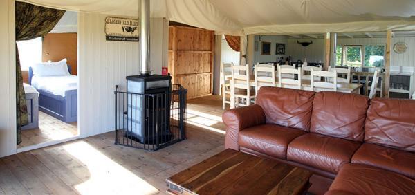 leather sofas + woodburner