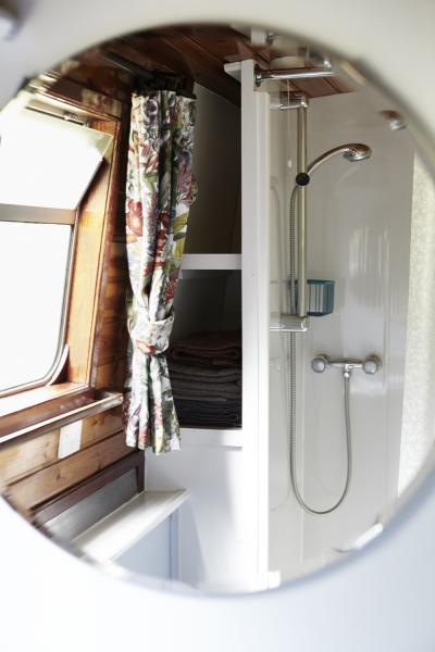 Sink, shower, toilet and good storage spaces