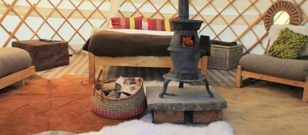 interior of cosy yurt