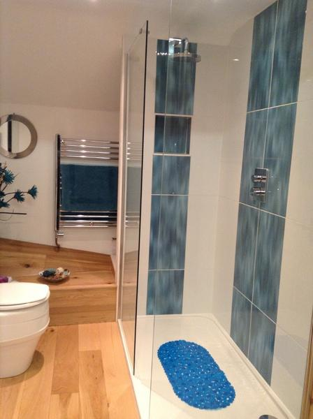 Drench shower in spacious bathroom