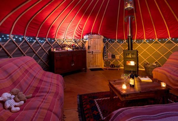 interior shot of a cosy yurt