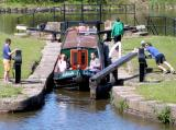 opening locks on narrowboat trip