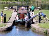 opening locks on narrowboat trip