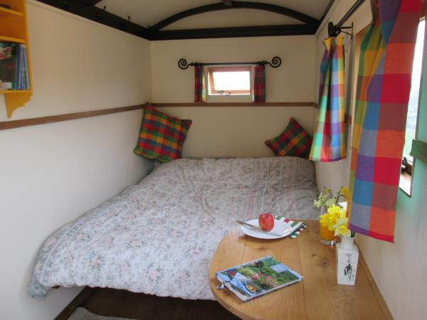 interior of hut with large bed down