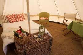 luxurious interior of the bell tents