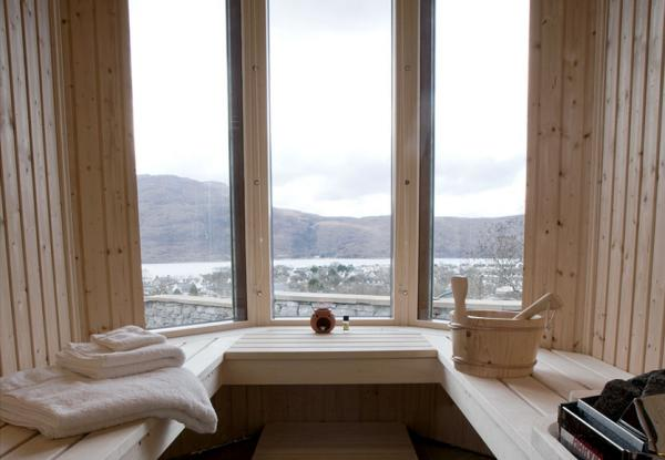 Curved Stone Sauna with views