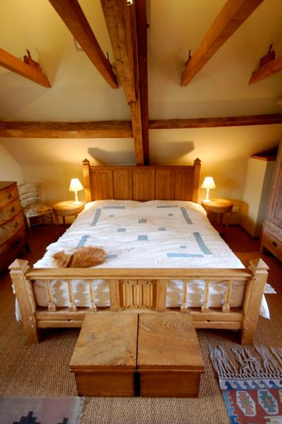bedroom with beams
