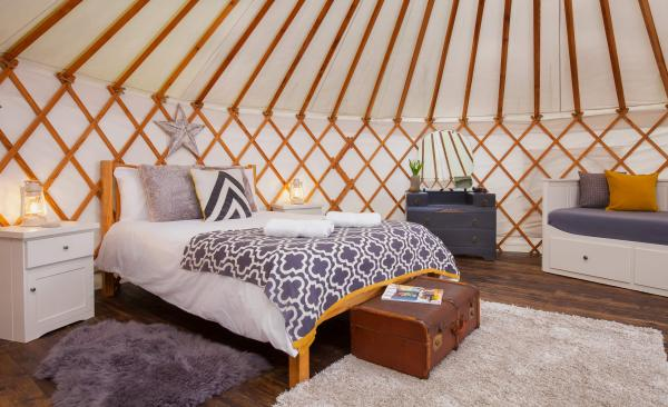 double bed in the yurts