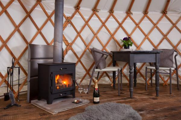 wood burner in the yurt