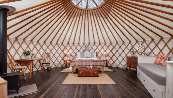 interior of the yurt