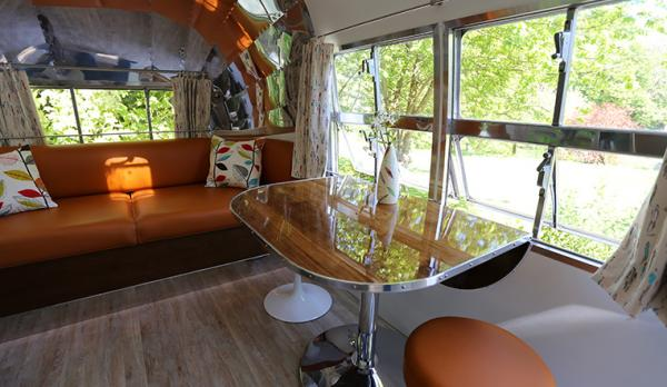 sitting and dining in airstream