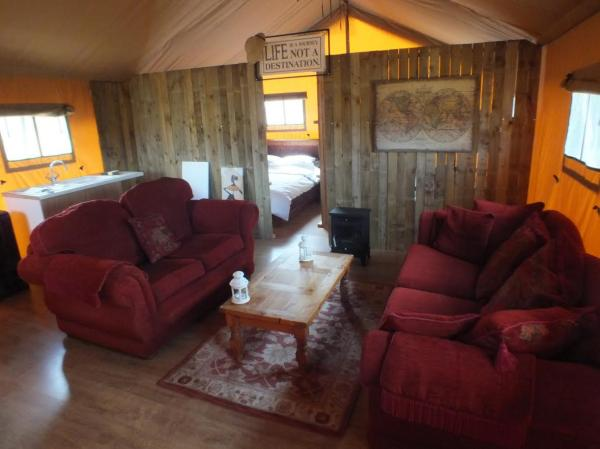 furnished interior of tent