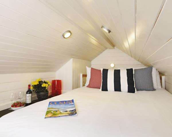 double bedroom in beach hut