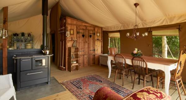 interior of luxury lodge tent