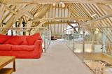 Great Higham Barn top floor beams and seating