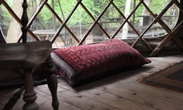 comfy corner in Chestnut Yurt