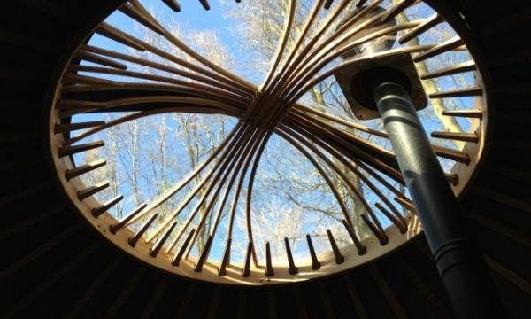 stay in a yurt with woodburner